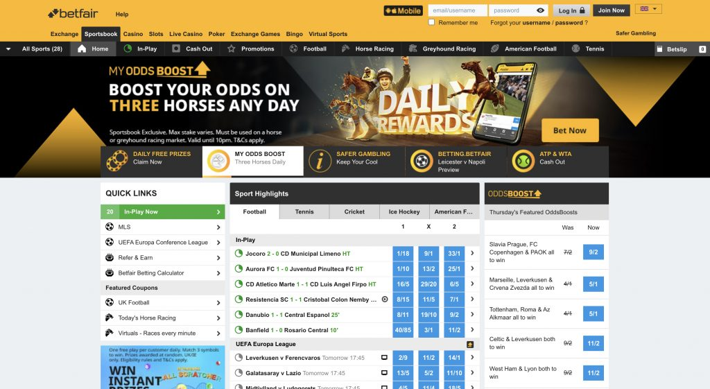 Betfair betting website