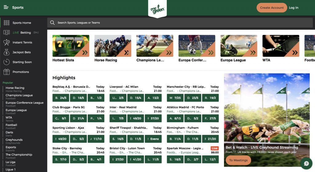 Mr Green betting website