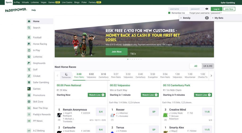 Paddy Power betting website