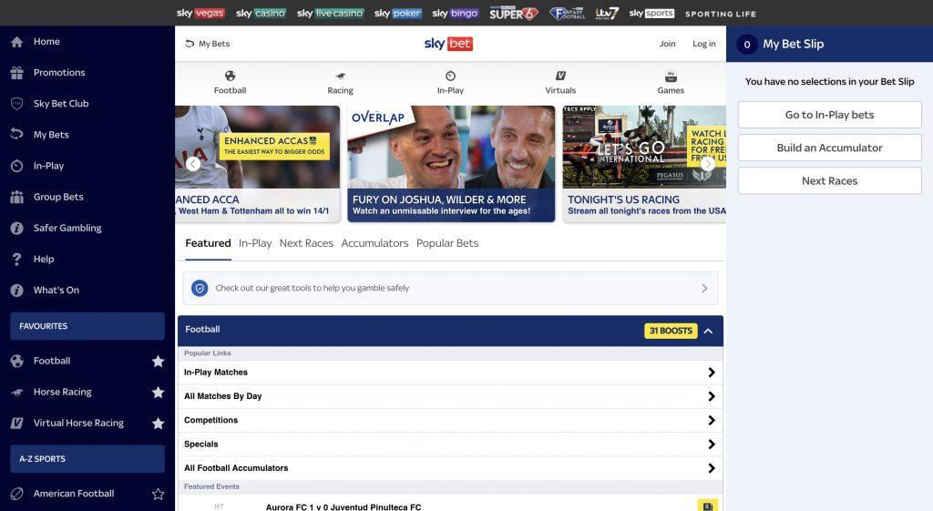 Sky Bet betting website